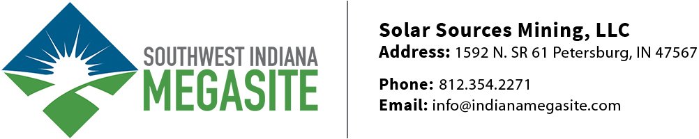 Solar Sources Mining, LLC | Address: 1592 N. SR 61 Petersburg, IN 47567 | Phone: 812.354.2271 | Email: info@indianamegasite.com